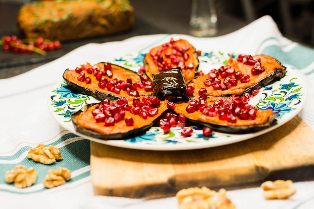 Georgian Aubergine with Walnut Paste and Pomegranate